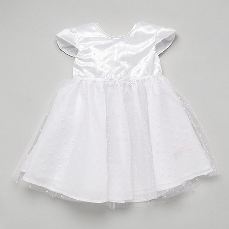 Debenhams - Baby+s white Christening spot dress
