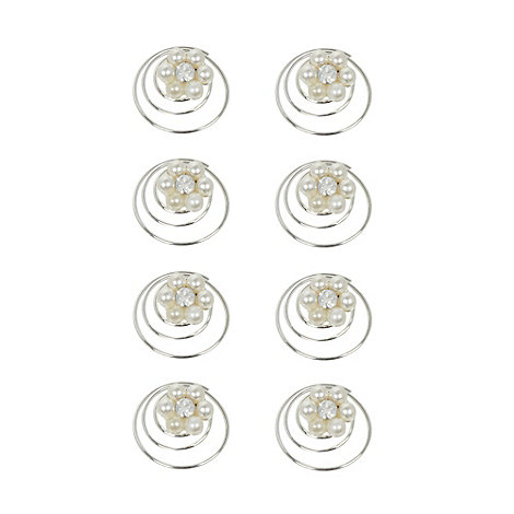Debenhams - Pack of eight girl+s cream floral pearl hair spirals