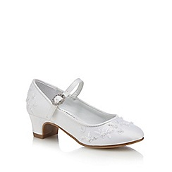 Debenhams - Girls' white embroidered shoes
