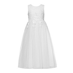 RJR.John Rocha - Girls' white lace embellished flower applique mesh dress