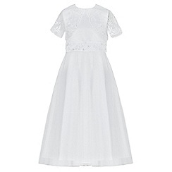 RJR.John Rocha - Girls' white sequin embellished back bow mesh dress