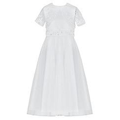 RJR.John Rocha - Girls' white sequin embellished back bow mesh dress