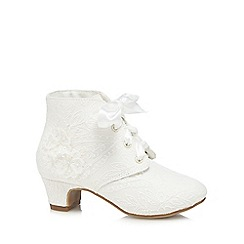RJR.John Rocha - Girls' ivory lace self tie heeled boots