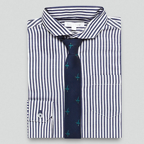 bluezoo - Boy+s navy striped shirt and tie set