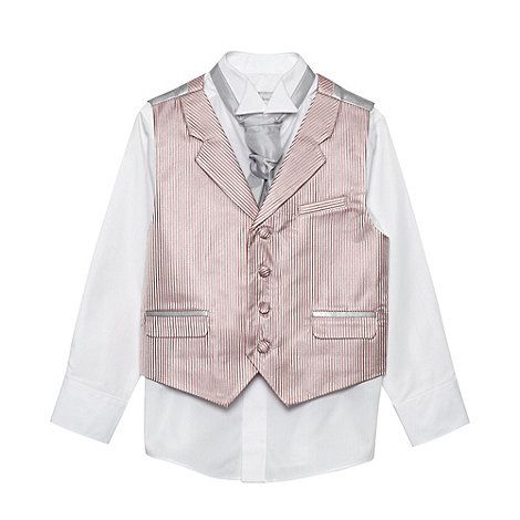 bluezoo - Boy's silver striped waistcoat cravat tie and shirt set