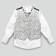 Boy's navy floral waistcoat cravat tie and shirt set