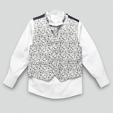 bluezoo - Boy+s navy floral waistcoat cravat tie and shirt set