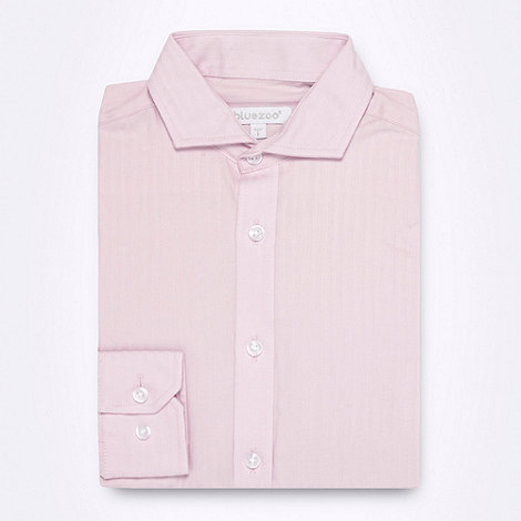 bluezoo - Boy+s pink long sleeved sateen stripe shirt