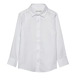 bluezoo - Boy's white long sleeved sateen stripe shirt