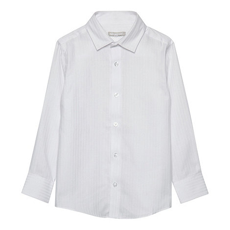 bluezoo - Boy+s white long sleeved sateen stripe shirt