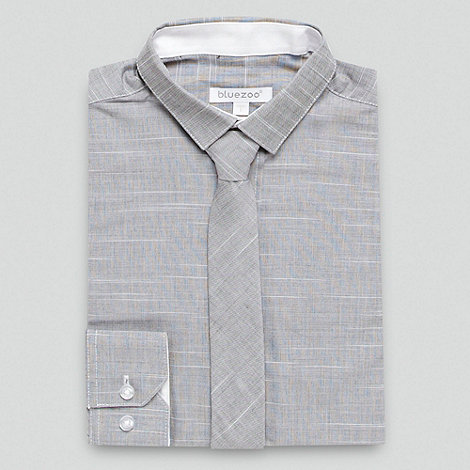 bluezoo - Boy+s grey textured shirt and tie set