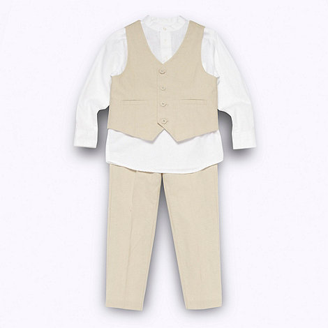 RJR.John Rocha - Designer boy+s natural waistcoat trousers and shirt set