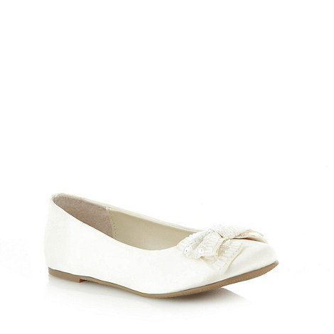 Debenhams - Girl+s ivory beaded bow pumps