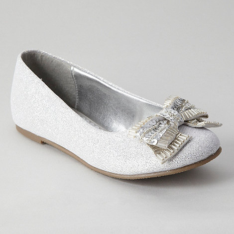 Debenhams - Girls+ silver glitter bow pumps