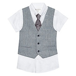 RJR.John Rocha - Boys' blue textured linen blend waistcoat, white shirt and dinosaur print tie set