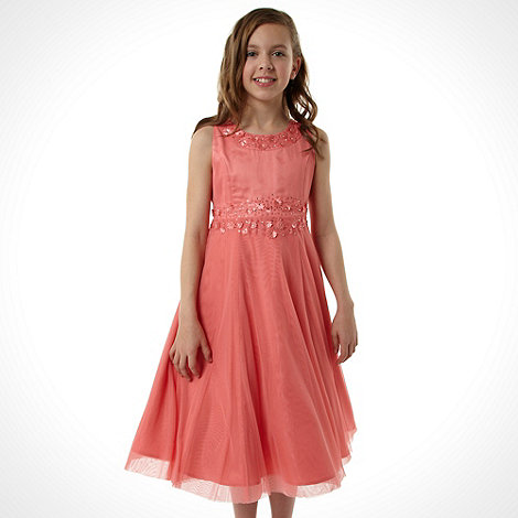 No. 1 Jenny Packham - Designer girl+s pink applique neck dress