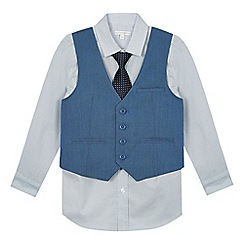 RJR.John Rocha - Boys' blue textured shirt, waistcoat and tie set