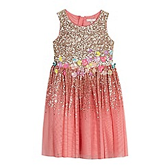 RJR.John Rocha - Girls' gold and pink sequinned flower embellished dress