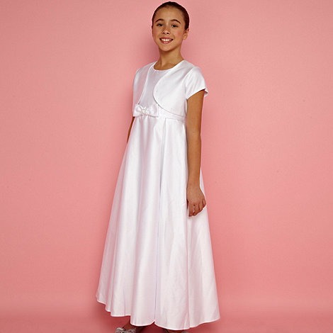 Pearce II Fionda - Designer girl+s white diamant  embellished dress and bolero