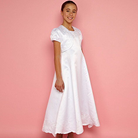 Pearce II Fionda - Designer girl+s white scallop edge embroidered dress and bolero