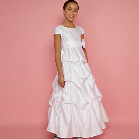 Pearce II Fionda - Designer girl+s white tuck detailed occasion dress
