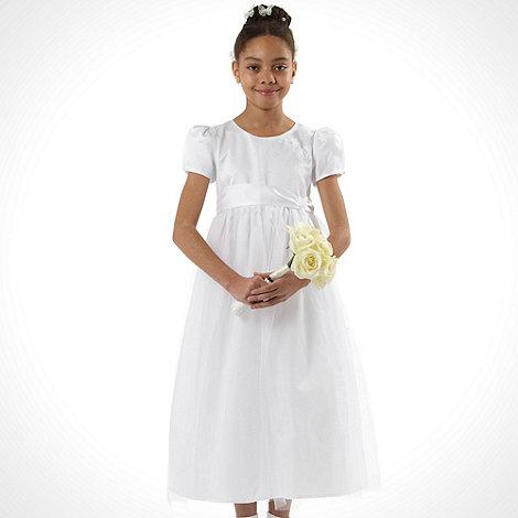 Pearce II Fionda - Designer girl+s white applique flower dress