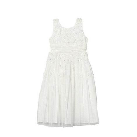 Pearce II Fionda - Designer girl+s ivory floral applique dress