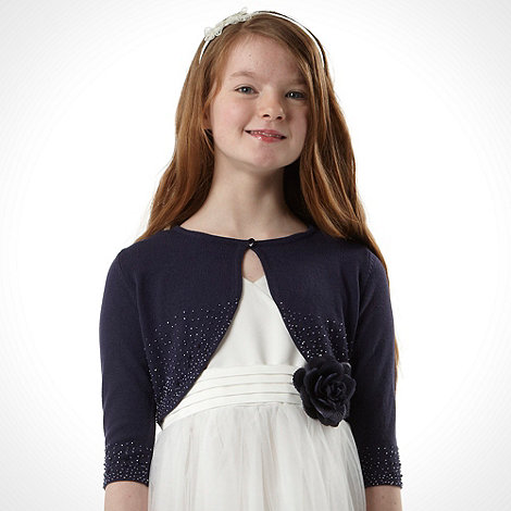 Tigerlily - Girl's navy beaded cardigan