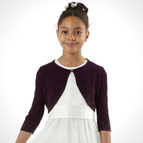 Tigerlily - Girl+s purple beaded cropped cardigan