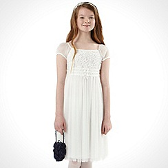 Tigerlily - Girl's ivory crochet panel dress