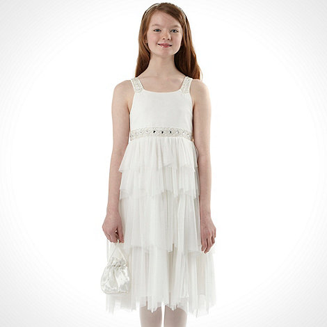 Pearce II Fionda - Designer girl+s ivory beaded top occasion dress