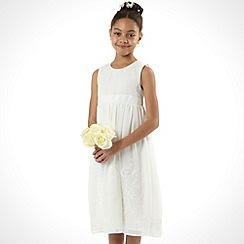 Pearce II Fionda - Designer girl's ivory embellished hem dress