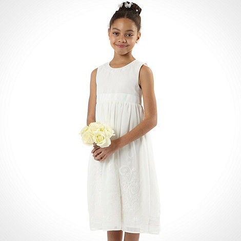 Pearce II Fionda - Designer girl+s ivory embellished hem dress
