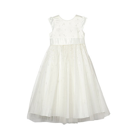 Pearce II Fionda - Designer girl+s ivory embellished mesh dress
