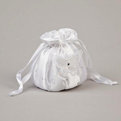 Debenhams - Girl+s white satin butterfly applique bag