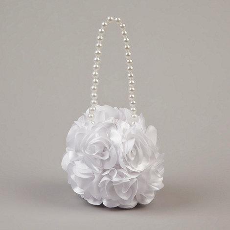 Debenhams - Girl+s white rosebud bag