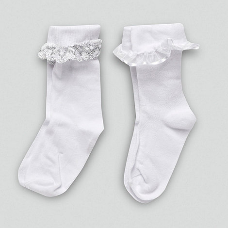 Debenhams - Girl+s pack of two frilly bow socks