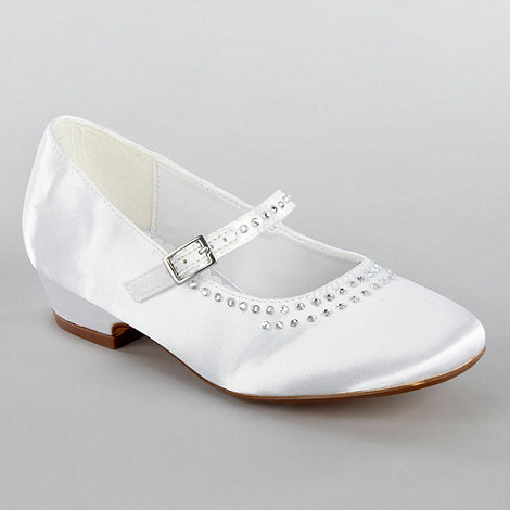 Debenhams - Girls+ white diamante toed party shoes