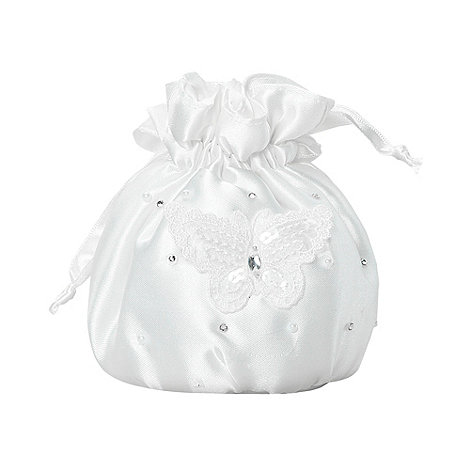 Debenhams - Girl+s ivory lace butterfly occasion bag