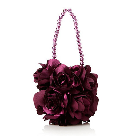 Debenhams - Girl+s plum rosebud bag