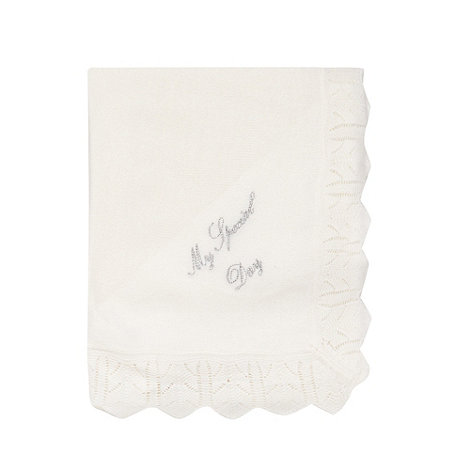 Debenhams - Baby+s white scalloped trimmed knitted blanket