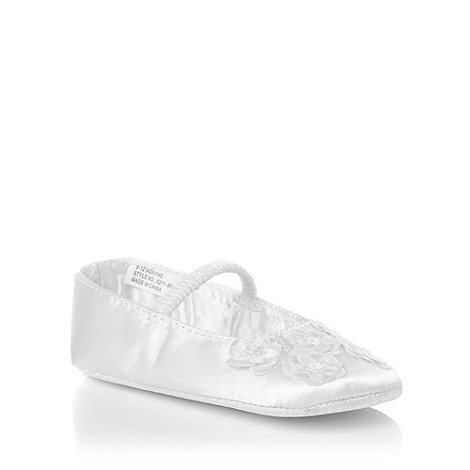 Debenhams - Girl+s white satin flower shoes