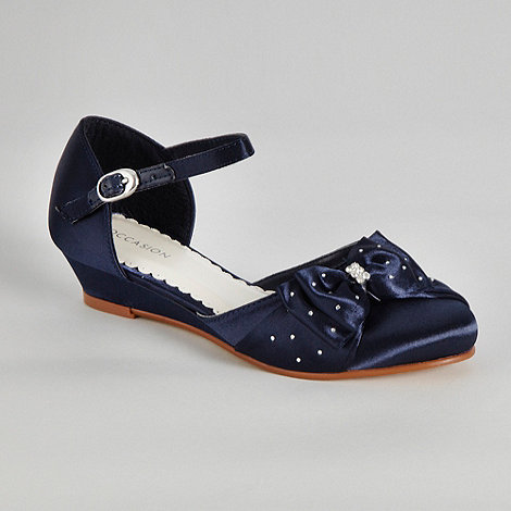 Debenhams - Girl+s navy diamant  bow wedge heel shoes