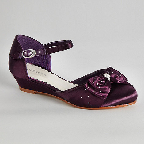 Debenhams - Girl+s plum diamante  bow wedge heel shoes