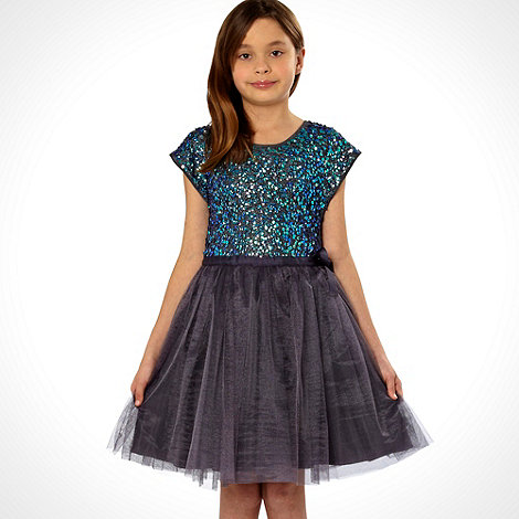 Butterfly by Matthew Williamson - Designer girl+s blue sequin net dress