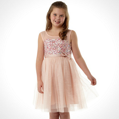Butterfly by Matthew Williamson - Designer girl+s pink sequinned sweetheart dress