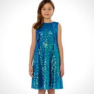 Designer girl's blue sequinned prom dress