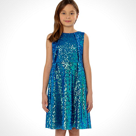 Butterfly by Matthew Williamson - Designer girl+s blue sequinned prom dress