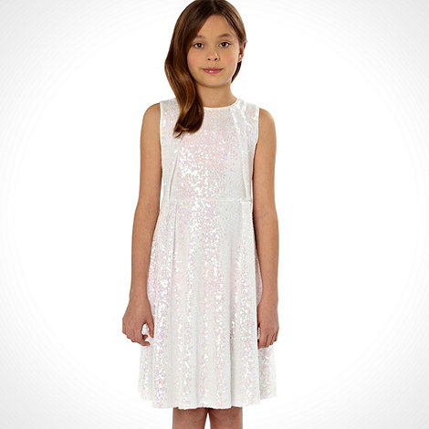 Butterfly by Matthew Williamson - Designer girl+s white sequinned prom dress