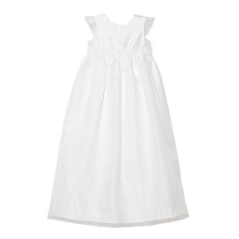 Debenhams - Baby+s white long applique flower dress